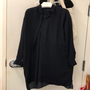 Cos navy silk blouse size 2